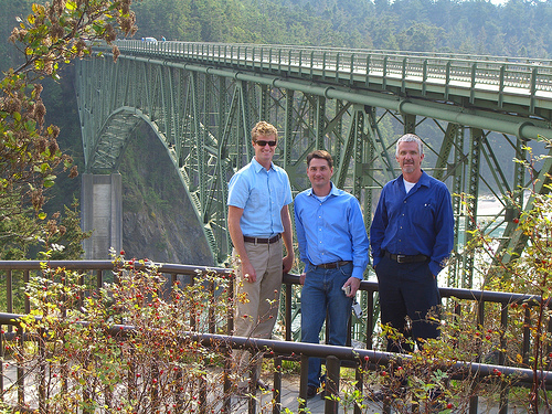 SR 20, Deception Pass Bridge by Washington State Dept of Transportation. WSDOT Communicators from left to right - Dustin Terpening, Lloyd Brown and Dave Chesson